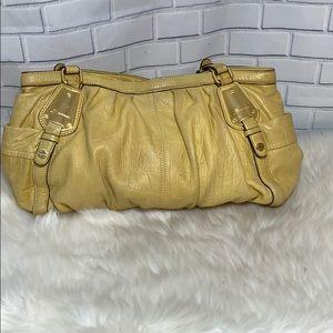 B. Makowsky Yellow Reptile Leather Bag